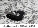 banknotes of dollars. oil... | Shutterstock . vector #1016917318