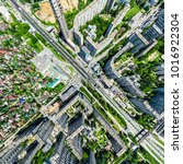 aerial city view with... | Shutterstock . vector #1016922304
