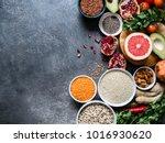 fresh raw seeds  cereals  beans ...   Shutterstock . vector #1016930620