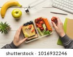 healthy snack at office... | Shutterstock . vector #1016932246