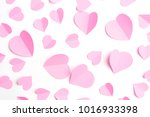 pink paper hearts isolated on... | Shutterstock . vector #1016933398
