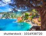 assos village in kefalonia ... | Shutterstock . vector #1016938720