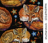 embroidery sleeping fox and... | Shutterstock .eps vector #1016943994