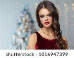 beautiful woman with fashion... | Shutterstock . vector #1016947399