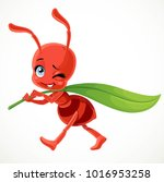cute cartoon red ant carries... | Shutterstock .eps vector #1016953258
