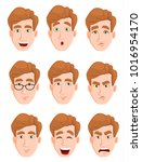 face expressions of a man with... | Shutterstock .eps vector #1016954170