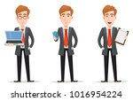 business man with blond hair ... | Shutterstock .eps vector #1016954224