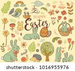 cute easter holiday symbols in... | Shutterstock .eps vector #1016955976