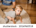 cute blonde and blue eyed baby...   Shutterstock . vector #1016960518