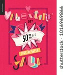 valentines day sale poster with ... | Shutterstock .eps vector #1016969866