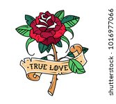 tattoo red rose with ribbon.... | Shutterstock .eps vector #1016977066
