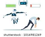 human vs robots modern robotic... | Shutterstock .eps vector #1016981269