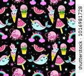 abstract seamless ice cream... | Shutterstock . vector #1016981728