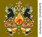 indian set of stickers  pins ... | Shutterstock . vector #1016983678