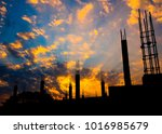 silhouette construction site in ... | Shutterstock . vector #1016985679