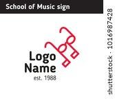 sign for music school  glasses  ... | Shutterstock .eps vector #1016987428