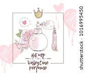 perfume bottle with rose flower ... | Shutterstock .eps vector #1016995450