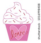 happy valentines day cupcake | Shutterstock . vector #1016998408