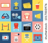 movie theater icons set for... | Shutterstock .eps vector #1017003976