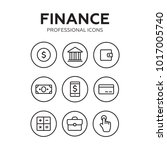 finance thin icons. finance... | Shutterstock . vector #1017005740