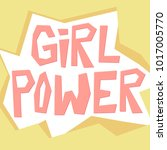 girl power paper cut style... | Shutterstock .eps vector #1017005770