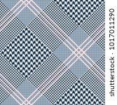 glen plaid pattern in navy blue ... | Shutterstock .eps vector #1017011290