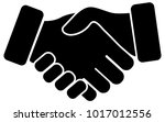 hand shake black vector icon on ... | Shutterstock .eps vector #1017012556