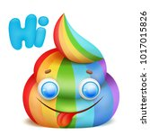 cartoon unicorn rainbow poo...   Shutterstock .eps vector #1017015826