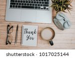 laptop spectacle clock cup of... | Shutterstock . vector #1017025144