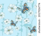 pattern with flowers and... | Shutterstock .eps vector #1017026776