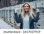 young and beautiful blonde... | Shutterstock . vector #1017027919
