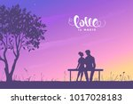 Happy Valentines Day illustration. Romantic silhouette of loving couple sit on a bench near a tree. Vector illustration
