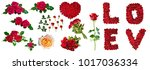 collage of red roses isolated... | Shutterstock . vector #1017036334