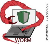clip art of computer virus worm | Shutterstock .eps vector #1017039778