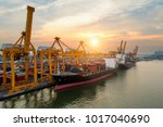 containers yard in port... | Shutterstock . vector #1017040690