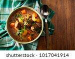 irish stew made with beef ... | Shutterstock . vector #1017041914