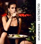 beautiful sexy fashion brunette ... | Shutterstock . vector #1017042730
