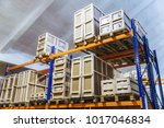 large trucking warehouse.... | Shutterstock . vector #1017046834