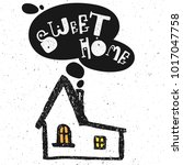 sweet home lettering text with... | Shutterstock .eps vector #1017047758