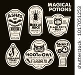 halloween bottle labels  ... | Shutterstock .eps vector #1017051253