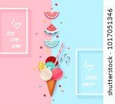 ice cream  fruit  3d  pastel.... | Shutterstock .eps vector #1017051346