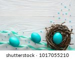 Easter Background With Blue...