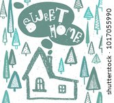 sweet home lettering text with... | Shutterstock .eps vector #1017055990