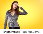 frustrated beautiful young girl ... | Shutterstock . vector #1017060598