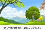 an isolated tree in the middle... | Shutterstock .eps vector #1017064168