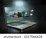 caucassian soccer players in... | Shutterstock . vector #1017066628