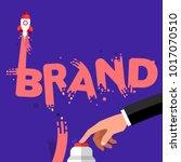flat design concept hand push... | Shutterstock .eps vector #1017070510