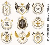 heraldic emblems with wings... | Shutterstock .eps vector #1017070618