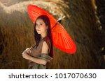 woman wearing laos traditional... | Shutterstock . vector #1017070630