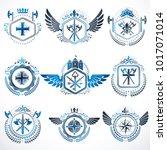 heraldic decorative emblems...   Shutterstock .eps vector #1017071014